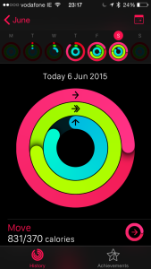 The summary screen on the activity app
